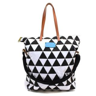 Seafolly White and Black Canvas Tote