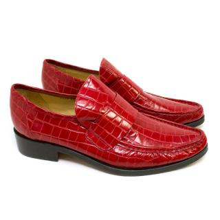 Patrick Cox Red Embossed Crocodile Print Loafers