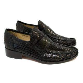 Patrick Cox Black Snakeprint Loafers