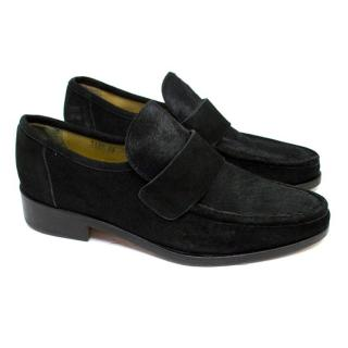 Patrick Cox Black Suede Loafers with Pony Hair on Vamp