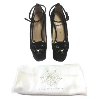Charlotte Olympia Black Velvet Kitty Platforms