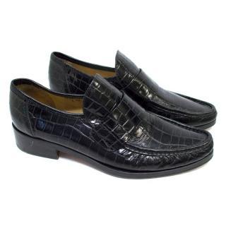 Patrick Cox Black Embossed Crocodile Print Loafers