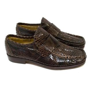 Patrick Cox Brown Snake Skin Loafers