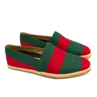 Gucci Green and Red Men's Striped Espadrilles