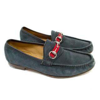 Gucci Prussian Blue Suede Loafers with Silver Buckle