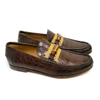 Gucci Brown Crocodile Loafers