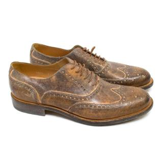 O'Keeffe Brown Distressed Leather Brogues
