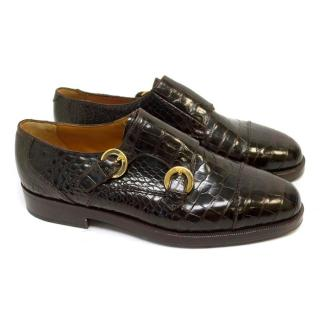 Susan Bennis Warren Edwards Brown Crocodile Monk Strap Shoes