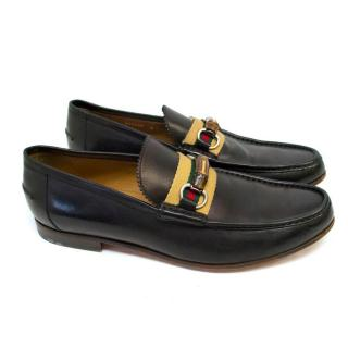 Gucci Black Leather Loafers with Bamboo Buckle