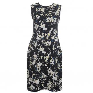 Erdem 'Maura' Leather Trim Stretch-Cotton Print Dress