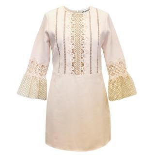 Self-Portrait Cream Mini Dress with Lace Trim
