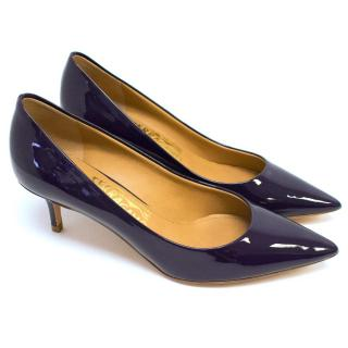 Salvatore Ferragamo Navy Patent Leather Pumps