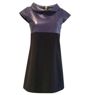 Alice + Olivia black & purple leather dress.