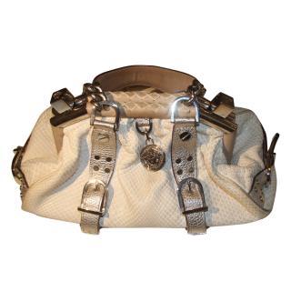 Versace python skin ivory chain Hobo bag