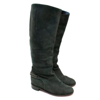 Christian Louboutin Grey Cate Suede Knee High Boots