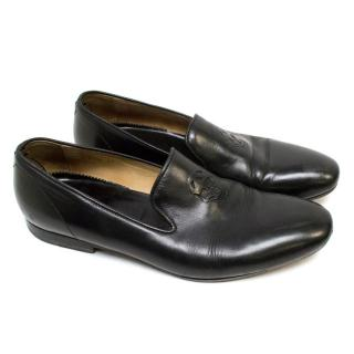 Alexander McQueen Black Skull Embossed Leather Loafers