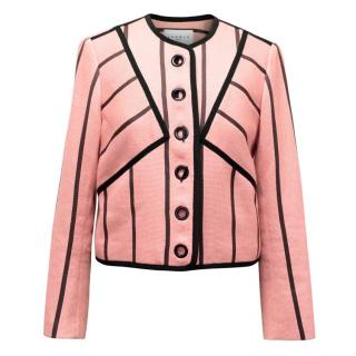 Sandro Pink and Black Collarless Cropped Blazer