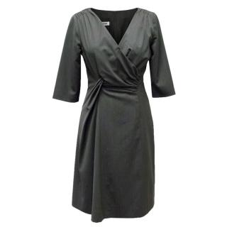 Moschino Grey Ruched Wool Dress