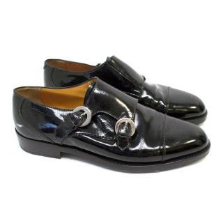 Susan Bennis Warren Edwards Black Patent Monk Strap Shoes