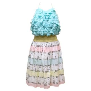 Manoush White, Pink and Blue Halter Dress with Gold Belt
