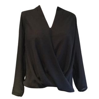 Helmut Lang black crossover blouse