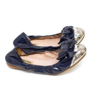 Miu Miu Navy Patent Bow Ballerina Pumps