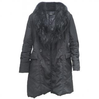 Achesa Black Raccoon Fur Trimmed coat