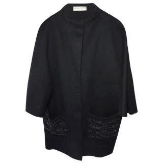 Emilio Pucci Black Beaded Embellished Coat