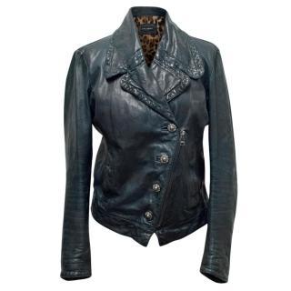 Dolce & Gabbana Petrol Blue Leather Jacket