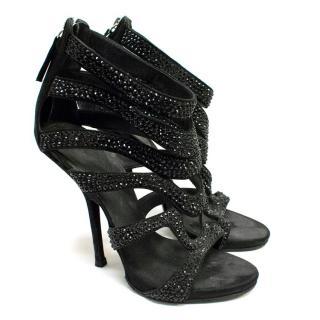 Giuseppe Zanotti Black Crystal Embellished Sandals