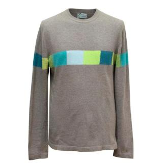 Clements Ribeiro Grey Geometric Pattern Cashmere Jumper