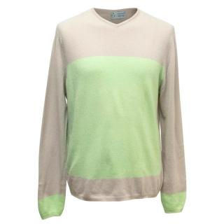 Clements Ribeiro Taupe and Lime Green Cashmere Jumper
