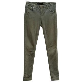 Victoria Beckham Washed Khaki Skinny Low-Rise Jeans