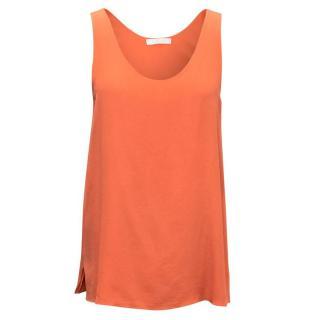 Chloe Rouge Orange Silk Sleeveless Top
