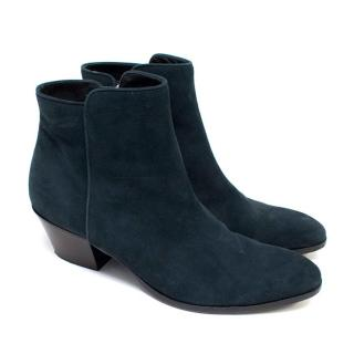 Barneys New York Dark Blue Suede Ankle Boots