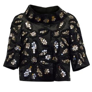 Ann Louise Roswald Black Sequined Cropped Jacket