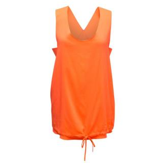 Chloe Neon Orange Silk Top with Cut-out Side Panels