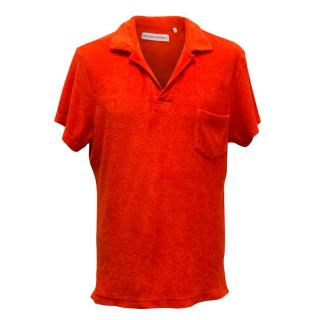 Orlebar Brown Red Polo T-shirt in Terrycloth