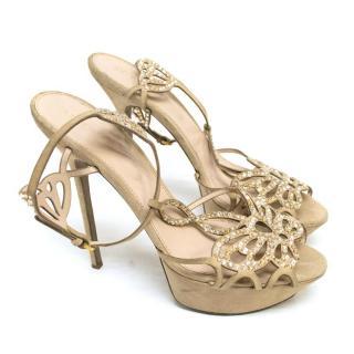 Sergio Rossi Nude Encrusted Sandals