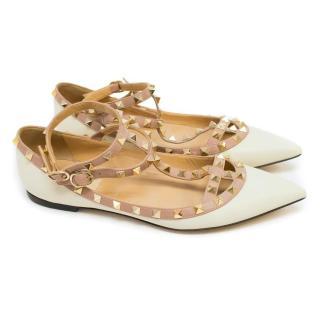 Valentino White Rockstud Leather Flats
