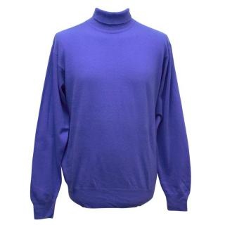 Richard James Blue Roll Neck Cashmere Jumper
