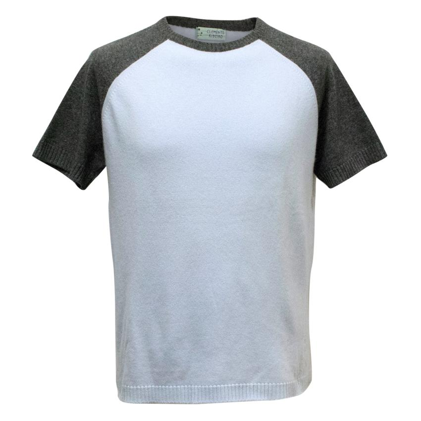 Clements Ribeiro Light Blue and Grey Cashmere Mens T-Shirt