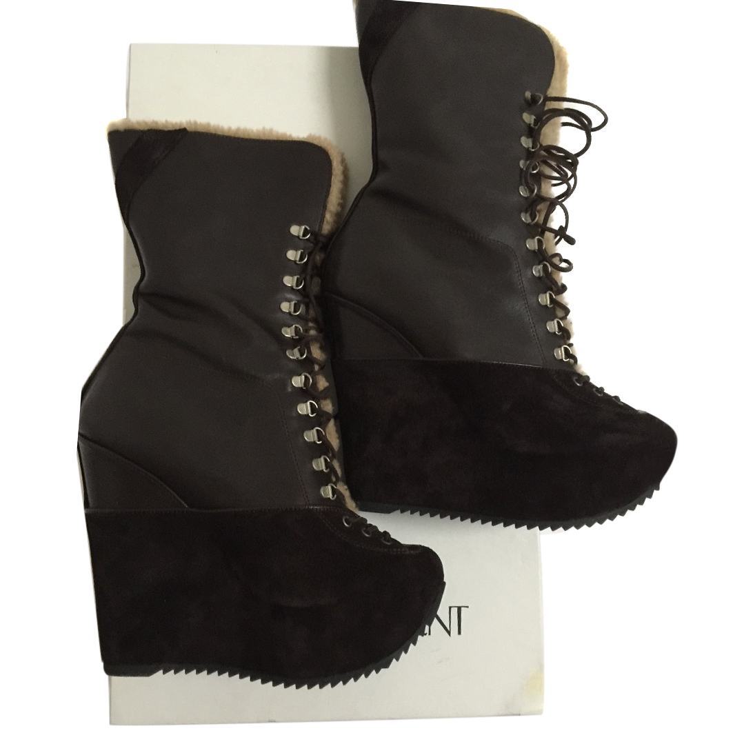 9be0efd59c1 Ysl Brown Wedge Ankle Boots | HEWI London