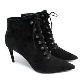 Balenciaga Black Suede Heeled Ankle Boots