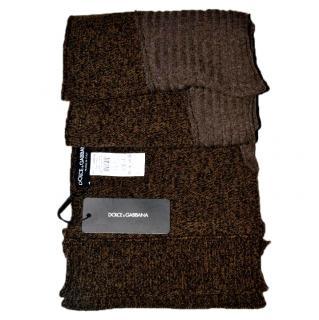 Dolce & Gabbana Men brown wool scarf