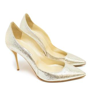 Oscar de la Renta Metallic Silver Stiletto Pumps