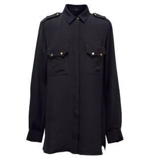 Joseph Navy Blue Silk Long Sleeve Shirt