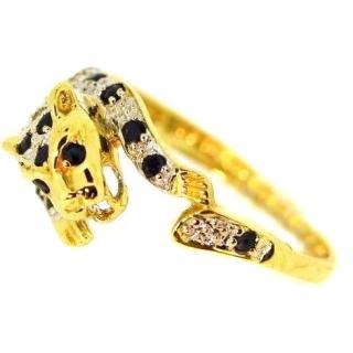 Vintage Diamond Panther Gold Ring