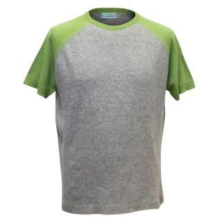 Clements Ribeiro Grey and Green Cashmere Short Sleeve Jumper