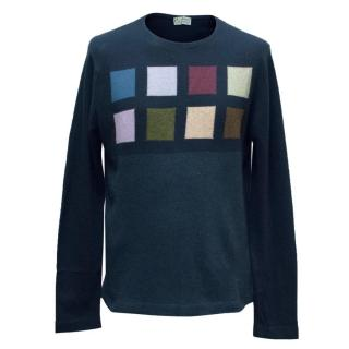 Clements Ribeiro Navy Geometric Print Cashmere Jumper